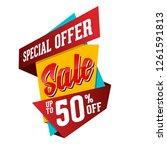 super sale paper banner. super... | Shutterstock .eps vector #1261591813