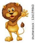 Illustration Of A Lion Waving...