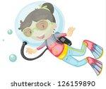 illustration of a girl scuba... | Shutterstock .eps vector #126159890