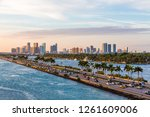 view of biscayne bay in miami... | Shutterstock . vector #1261609006