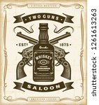 vintage western saloon label... | Shutterstock . vector #1261613263