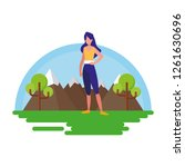 woman making yoga in the... | Shutterstock .eps vector #1261630696