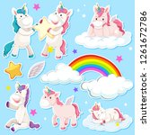 set of unicorn sticker... | Shutterstock .eps vector #1261672786
