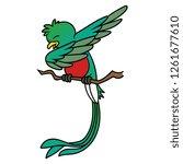 cartoon quetzal bird dabbing | Shutterstock .eps vector #1261677610