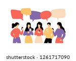 illustration of communicating... | Shutterstock . vector #1261717090