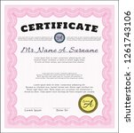 pink sample certificate or...   Shutterstock .eps vector #1261743106