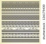 set of vintage lines on beige...   Shutterstock . vector #126175430