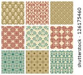 set of nine seamless pattern in ... | Shutterstock . vector #126175460