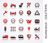 automotive red icons with... | Shutterstock .eps vector #126175496