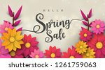 spring sale banner with leaf... | Shutterstock .eps vector #1261759063