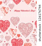 happy valentines day cards with ... | Shutterstock .eps vector #126176744