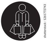 shopper man with bags black...   Shutterstock .eps vector #1261772743