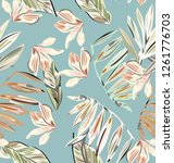 pastel blue pattern with... | Shutterstock .eps vector #1261776703