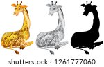 set of giraffe character... | Shutterstock .eps vector #1261777060