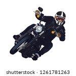 motorcycle rider with  helmet... | Shutterstock .eps vector #1261781263