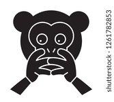hear no evil emoji black vector ...   Shutterstock .eps vector #1261782853