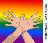 hands showing a flying bird on...   Shutterstock .eps vector #1261787809