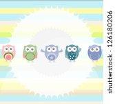 birthday party owls set....   Shutterstock . vector #126180206