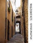 girona  spain   narrow streets... | Shutterstock . vector #1261802506