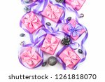 christmas boxes with gifts on... | Shutterstock . vector #1261818070