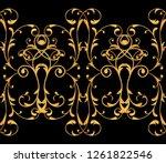 seamless pattern. golden...   Shutterstock . vector #1261822546