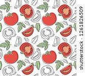 tomato seamless pattern. hand...   Shutterstock .eps vector #1261826509