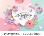 happy valentine's day greetings ... | Shutterstock .eps vector #1261834000