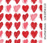 red and pink hearts. vector... | Shutterstock .eps vector #1261856113