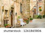 scenic alley in anghiari  in... | Shutterstock . vector #1261865806