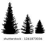 silhouette of pine trees....   Shutterstock .eps vector #1261873036