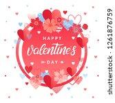 happy valentines day   hand... | Shutterstock .eps vector #1261876759