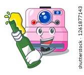 with beer instant camera... | Shutterstock .eps vector #1261877143