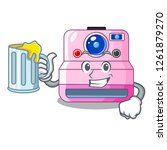 with juice instant camera in a... | Shutterstock .eps vector #1261879270