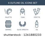 6 oil icons. trendy oil icons... | Shutterstock .eps vector #1261880233