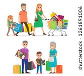 family out on shopping two sets ... | Shutterstock . vector #1261891006
