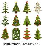 big set of christmas tree... | Shutterstock . vector #1261892773