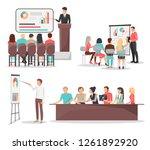 set of business meeting... | Shutterstock . vector #1261892920