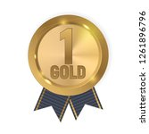 champion gold medal with blue... | Shutterstock .eps vector #1261896796