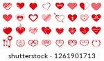 vector set of red hearts.... | Shutterstock .eps vector #1261901713
