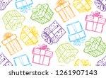 happy birthday present box gift ... | Shutterstock .eps vector #1261907143
