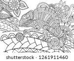 figure of zentangle chameleon... | Shutterstock .eps vector #1261911460