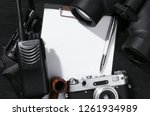 blank page  portable radio ... | Shutterstock . vector #1261934989