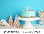 fresh delicious cake and... | Shutterstock . vector #1261939936