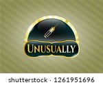 gold emblem with syringe icon... | Shutterstock .eps vector #1261951696
