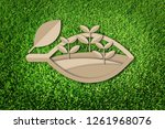 paper cut of eco concept on... | Shutterstock . vector #1261968076