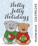 holly jolly holidays. festive... | Shutterstock .eps vector #1261981243