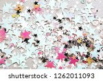 sparkling and holographic stars ... | Shutterstock . vector #1262011093