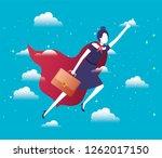 businesswoman with hero coat... | Shutterstock .eps vector #1262017150