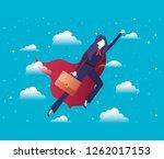 businesswoman with hero coat... | Shutterstock .eps vector #1262017153