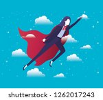 businesswoman with hero coat... | Shutterstock .eps vector #1262017243